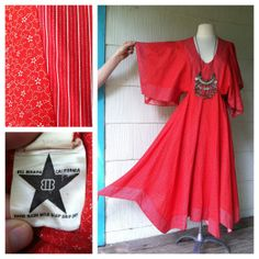 VINTAGE 70s red hankie hem dress angel by squashblossomvintage, $94.00