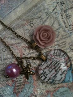 Custom Vintage Map Necklace with Charms by BringHomeATanquary, $18.00