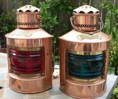 Pair of Vintage Copper Bakboord and Sturrboord Dutch Nautical Lamps on Etsy, $400.00