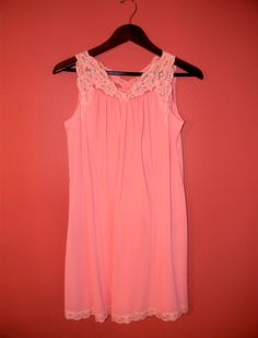 Vintage Nightgown Nylon 60s 70s Short Peach by PinkCheetahVintage, $16.00