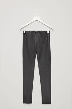COS image 2 of Slim-fit leather trousers in Black