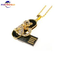 USB Flash Drive 16GB Flash Drive Lovely Animal Crystal Small Cat USB Memory Stick 2.0 Pen Drive Gold