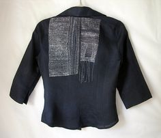 Christine Mauersberger _ Black shirt, 2010.  hand stitched silk/cotton thread on found linen shirt