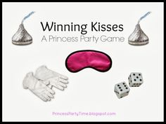 Winning Kisses - A Princess Party Game with blindfolds, gloves, dice and chocolate kisses.  So Fun for lots of ages. #princess #partygames #partyideas #party