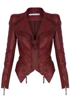 FOREVER UNIQUE - PULP - Berry Red Leatherette Jacket