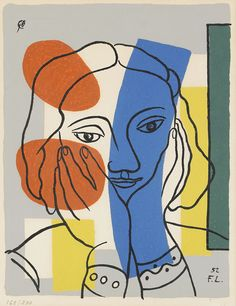 Artist: Fernand Leger Title: Portrait de Femme Medium: Color silkscreen after a gouach Size: Date: 1952 Art And Illustration, Illustrations, Kunst Inspo, Art Inspo, Modern Art, Contemporary Art, Art Sur Toile, Identity Art, Art Graphique