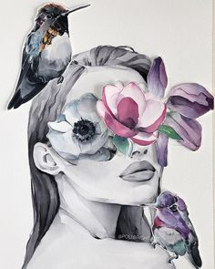 """I've just remembered about my cut outs Which one do you like more? And I have a """"hummingbirds blindfolded"""" version in my stories Watercolor Artwork, Watercolor Portraits, Art And Illustration, Kreative Portraits, Tumblr Art, Bright Art, Fashion Wall Art, Aesthetic Art, Portrait Art"""