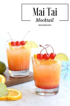 Mai Tai Mocktail Party Punch will help you escape the stresses of life, without leaving your home! Just mix up this non-alcoholic Mai Tai mocktail recipe. It makes such a fun and easy party punch recipe, too. Easy Mocktail Recipes, Mocktail Drinks, Alcoholic Punch Recipes, Party Punch Recipes, Alcoholic Cocktails, Drinks Alcohol Recipes, Smoothie Drinks, Refreshing Drinks, Party Drinks