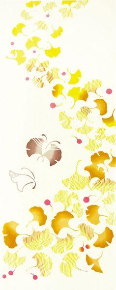 【メール便送料無料♪】[気音間]手ぬぐい銀杏日本手拭い(てぬぐい)【秋・植物・葉・行事】手ぬぐい専門店「わざっか本舗」