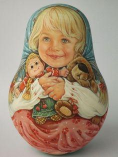 My Author's 1 Kind Russian Roly Poly Nesting Matryoshkas w Dolls Teddy Bears   eBay