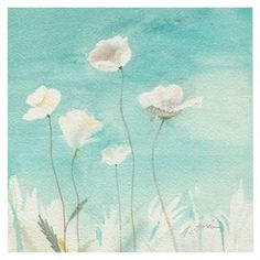 "White Poppies canvas art. Features: Gallery wrapped giclee print. Reproduction of original art by Sheila Golden Dimensions: Small: 18"" H x 18"" W Medium: 24"" H x 24"" W Large: 35"" H x 35"" W"