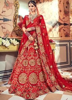 Buy wedding wear designer lehenga choli at best price. This haute fancy fabric lehenga choli for bridal and wedding. Lehenga Choli Online, Ghagra Choli, Bridal Lehenga Choli, Red Lehenga, Anarkali Dress, Rohit Bal, Choli Designs, Lehenga Designs, Dresses