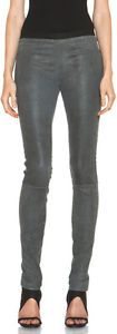 NWT $920 Helmut Lang Patina Strech Leather Dress Leggings,Gray Size 6 Ends Jan13