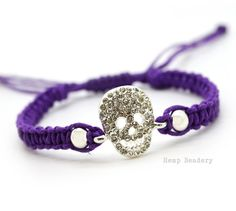 Skull Hemp Bracelet, Rhinestone Skull Charm, Macrame Bracelets, Skull Cord Bracelet on Etsy, $9.26 AUD