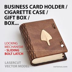 Wooden box with sliding bolt latch. Laser cut vector model. Instant download by cartonus on Etsy