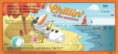 Join Olaf from Disney's movie Frozen for a delightful touch of snowman humor. Now, get ready to have some fun in the sun with these Olaf checks from Bradford Exchange Checks®. Four different designs feature images of Olaf, the funny, summertime loving snowman from Disney's hit animated film Frozen, as he performs your favorite scenes from his movie-based musical number.