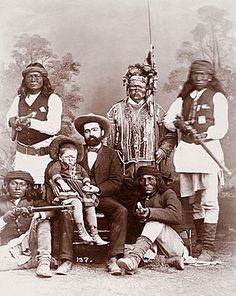 An old photograph of Apache Scouts and Guide.