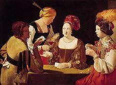 Georges de La Tour - Peintre français (1593-1652) - le tricheur à l'as de carreau    qd j'étais jeune (12-13 ans), vivant à Rome, j'ai du faire un exposé sur Le Caravage et Georges de la Tour .... et suis tombée sous la magie de leurs éclairages, des regrads échangés qui créent tous un entrelac sur la toile ....