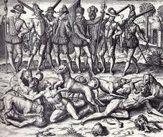 Illustration of Spanish Conquistadores Feeding Indians to dogs.researchers have discovered over 50 million indigenous Indians were slaughtered this way and many others. History Facts, Art History, Ancient History, History Books, Puerto Rico History, Babylon The Great, War Dogs, Demonology, Conquistador
