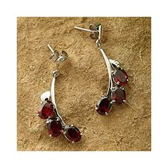 Sterling Silver Bright Bombay Blossoms Garnet Earrings (India)