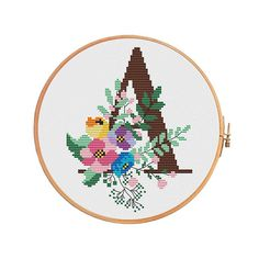 Cross stitch (KIT) - Botanical letters - modern cross stitch pattern initial alphbet. If you want digital pattern only, you can buy it here: https://www.etsy.com/shop/PatternsCrossStitch?section_id=15121931 Each letter has its own size, but you can focus on the average. Canvas: