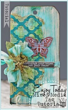 Spring tag, looks like garden door, gray wood. Blue and green, paper stuck on. Card Tags, Gift Tags, Mix Media, Mixed Media Tutorials, Handmade Tags, Paper Tags, Artist Trading Cards, Tag Art, Tim Holtz