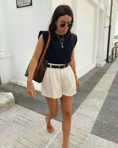 Spring Summer Fashion, Spring Outfits, Spring Ootd, Summer Shorts Outfits, Casual Summer Outfits, Outfit Summer, Classy Outfits, Stylish Outfits, Look Fashion