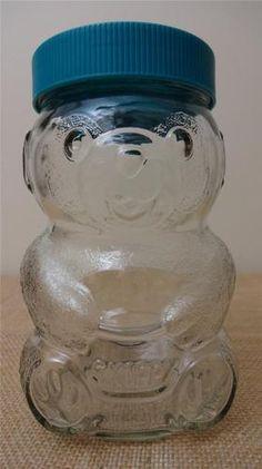 Glass Jar Teddy Bear with blue lid. Vintage Love, Vintage Items, Skippy Peanut Butter, Mason Jar Wine Glass, Teddy Bear, How To Get, Turquoise, Retro, Tableware