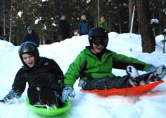We provide 3-4 sleds for guests. Great sled runs on the side of the cabin are fantastic!