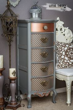 ©️️ Lotus Theory Designs Lexington lingerie chest painted in gray with rose gold accents. ©️️ Lotus Theory Designs Lexington lingerie chest painted in gray with rose gold accents. Funky Furniture, Refurbished Furniture, Repurposed Furniture, Furniture Projects, Furniture Makeover, Vintage Furniture, Furniture Decor, Furniture Design, Metallic Furniture