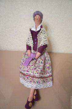 Купить Кукла Бабулечка - сиреневый, тильды, куклы тильды, подарок, текстильные куклы, бабушка ☆