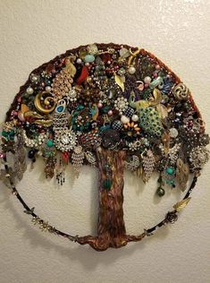 Vintage Costume Jewelry Upcycled & Repurposed is part of Vintage jewelry crafts - Things you can make with vintage costume jewelry DIY crafts to make with old jewelry Costume Jewelry Crafts, Vintage Jewelry Crafts, Vintage Costume Jewelry, Vintage Costumes, Vintage Jewellery, Diy Jewelry Tree, Tree Of Life Jewelry, Recycled Jewelry, Jewelry Ideas