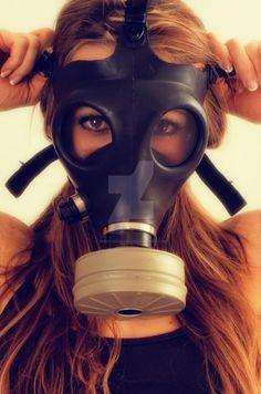 Girl in Gasmask by missourimedic on DeviantArt Catsuit, Gas Mask Girl, Mode Latex, Respirator Mask, Heavy Rubber, Masks Art, Latex Girls, Amber Heard, Headgear