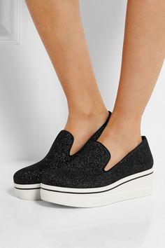 Stella McCartney|Sneakers aus Canvas mit Plateau und Glitzereffekt|NET-A-PORTER.COM