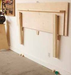 Folding Work Bench Woodworking Plan, Shop Project Plan | WOOD Store  *I think I want to re-make this idea so it comes up from the floor or at least lower on the wall.: