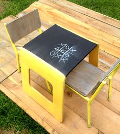 upcycled children's blackboard table