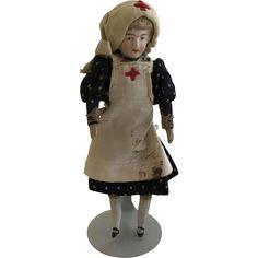 "Antique Bisque 5"" Dollhouse Nurse Doll ca.1900 German from gingerhous1948 on Ruby Lane"