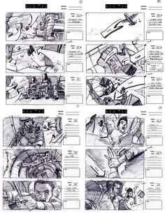 Heroes Storyboard with multiple types of shots and directional cues