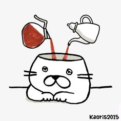 kitty with coffee