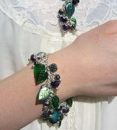 Hedgerow bracelet blackberries purple green by WychwoodDreams