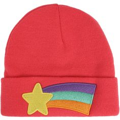 Disney Gravity Falls Mabel's Rainbow Star Sweater Cosplay Beanie Hot... ($15) ❤ liked on Polyvore featuring accessories, hats, embroidered sweaters, red top, embroidered top, star print top and red embroidered top
