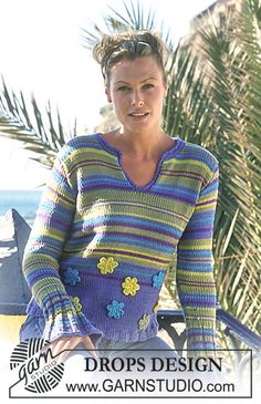 Pullover in Paris and Muskat  Free pattern by DROPS Design.