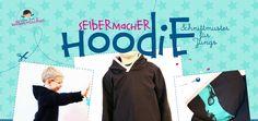 Free Hoodie Sewing pattern in sizes 80 - 122 or US sizes 1 - 7. Selbermacher Hoodie - Boys