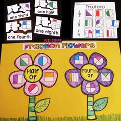 Fraction math activities that are SO fun and differentiated - homework worksheets math stations centers everything! Math Classroom, Kindergarten Math, Teaching Math, Teaching Resources, Classroom Ideas, Preschool, Fractions Worksheets, Math Fractions, Learning Fractions