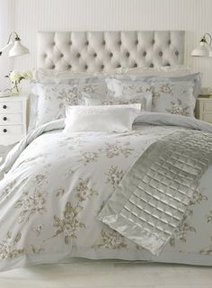 New Holly Willoughby blue Abelle bedding from Holly Willoughby for the home collection at British Home stores, BHS. Abelle design is also available in soft pink and silver