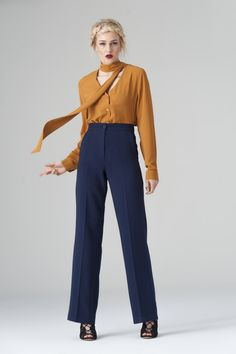 1d9c42c1f5c6 mustard shirt V with scarf - blue trousers with front zip μουσταρδί  πουκάμισο V με φουλάρι - μπλε παντελόνι με φερμουάρ στο μπροστινό μέρος