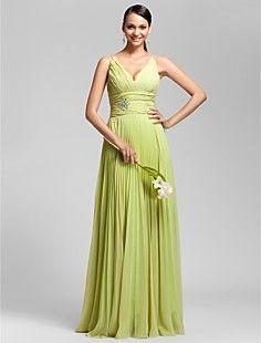 Sheath/Column V-neck Floor-length Chiffon Bridesmaid Dress – USD $ 127.39 :)