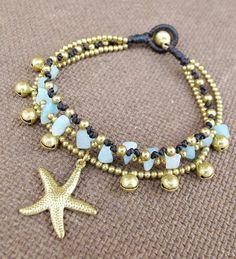 Multi Strand Amazonite Stone Brass Bead Bracelet by Summerwrist, $9.00