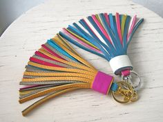 Items similar to Colorful Leather tassel Fringe Keychain Key chain Bag charm Bridesmaid Gift Multicolor on Etsy Diy Tassel, Tassel Jewelry, Tassels, Leather Flowers, Pink Leather, Leather Accessories, Leather Jewelry, Crea Cuir, Leather Tassel Keychain