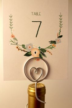 Wine Bottle Table Number Holder with Heart by CharmedDetails, #wine #wedding #hearts
